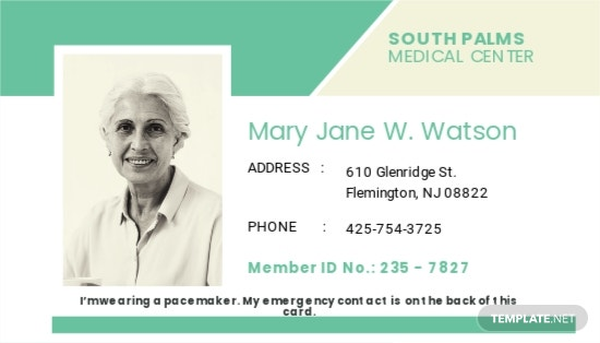 Pacemaker ID Card Template