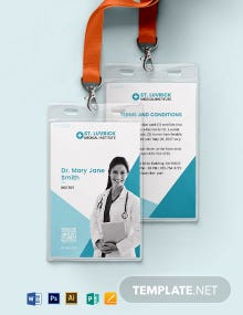 Portrait/ Horizontal Medical ID Card Template
