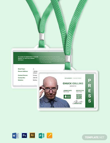 Portrait/Horizontal Press ID Card Template