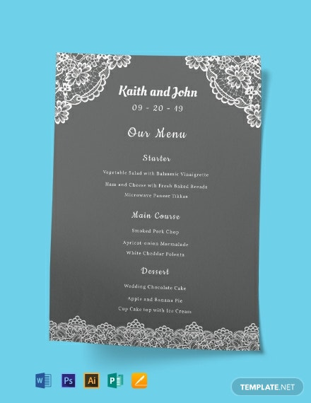 Lace Wedding Menu Template