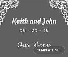 Free Lace Wedding Menu Template