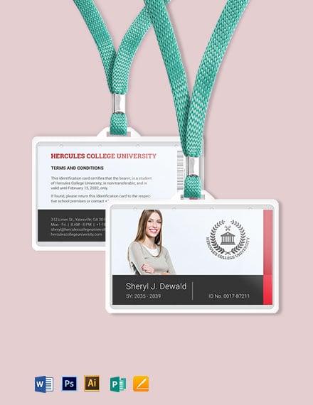 Printable College ID Card