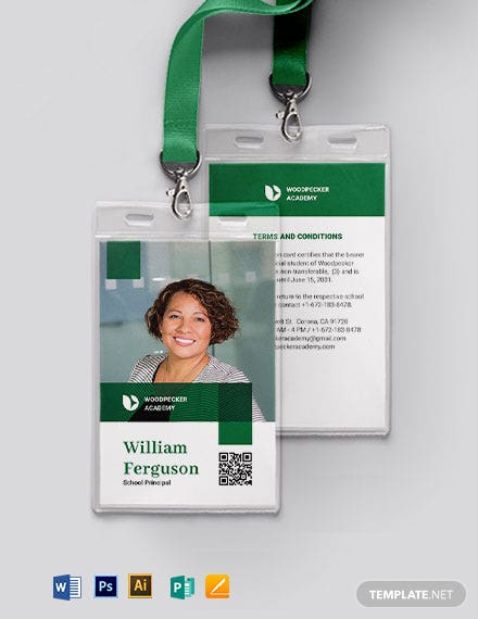 School Principal ID Card Template