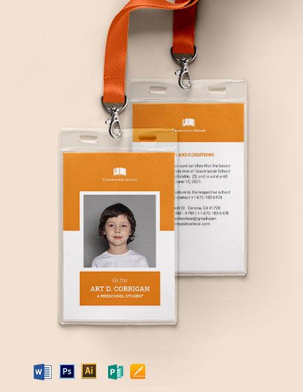 Preschool ID Card Template
