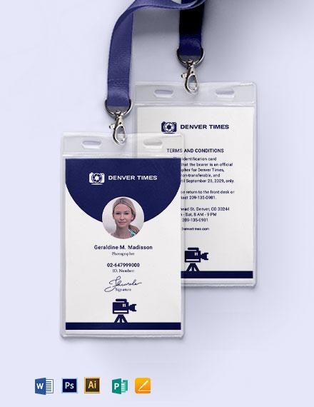 Printable Photographer ID Card