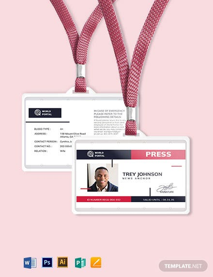 Printable Press ID Card