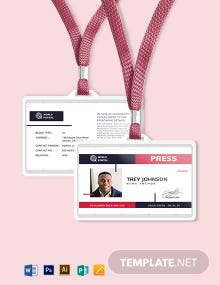 Printable Press ID Card Template