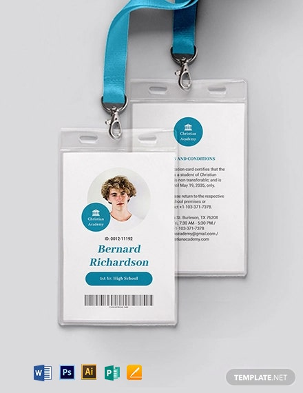 Private School Student ID Card Template