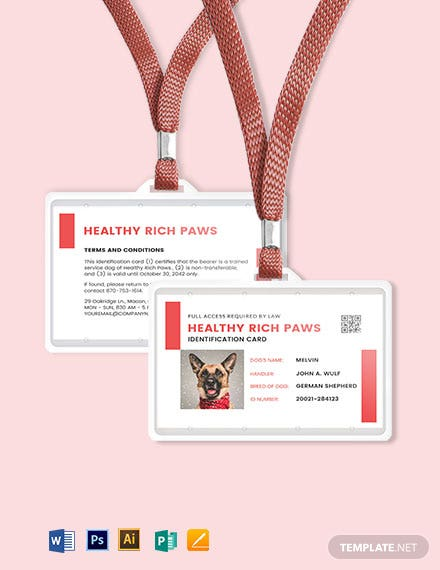 Printable Service Dog/ Animal ID Card Template
