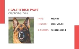 Printable Service Dog/Animal ID Card Template