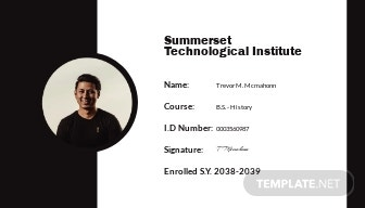 Printable Student ID Card Template