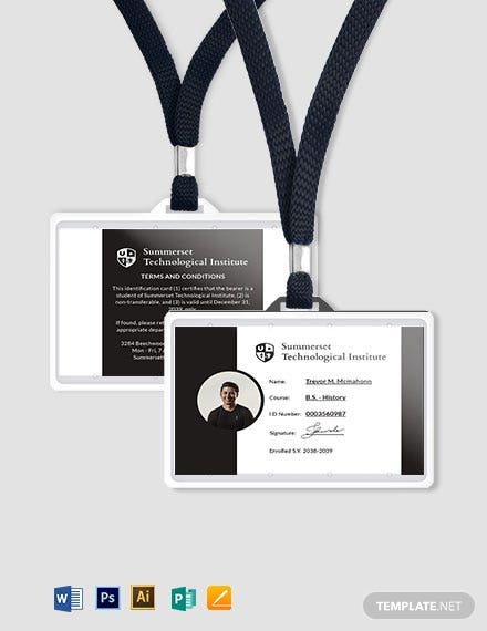 Printable Student ID Card