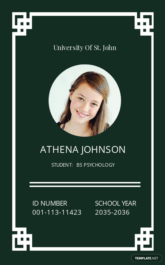 Printable University ID Card Template