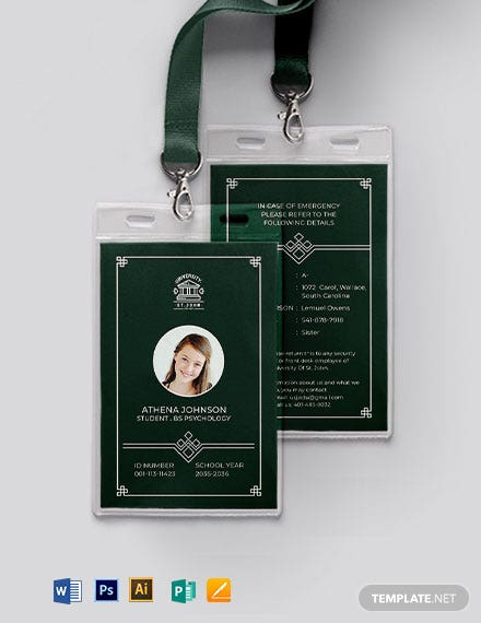 Printable University ID Card Template
