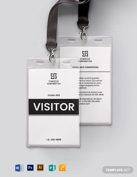 Printable Visitor/ Guest ID Card Template