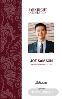 Valet Service ID Card Template