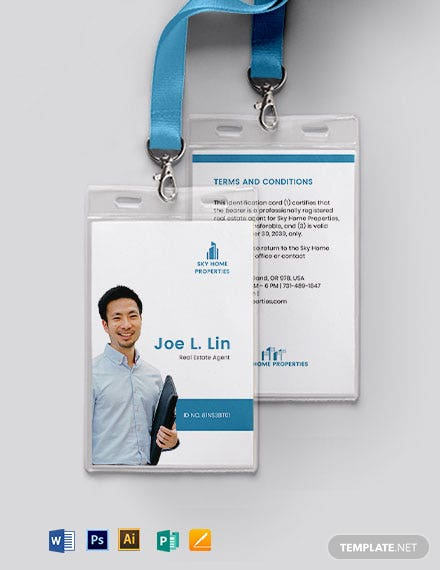 Classic Real estate ID Card Template