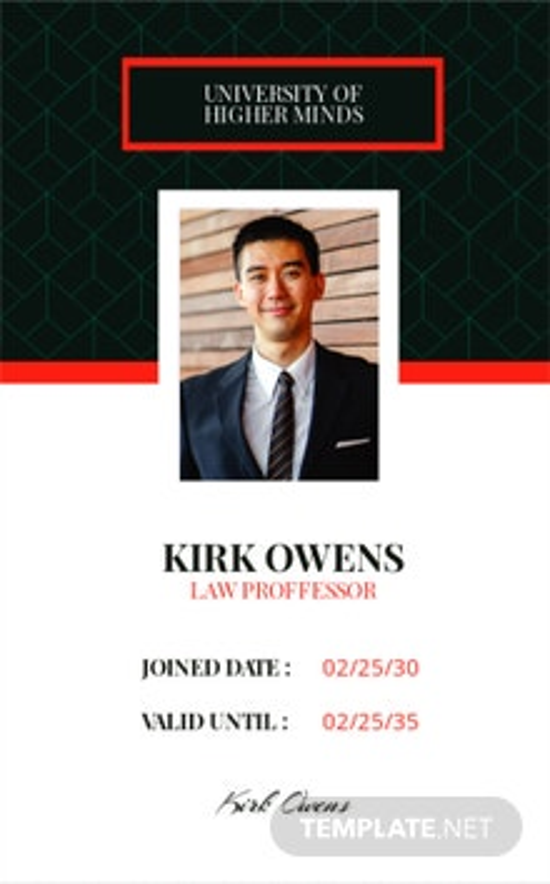 Professor ID Card Template