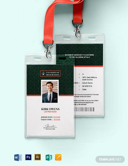 Professor ID Card Template