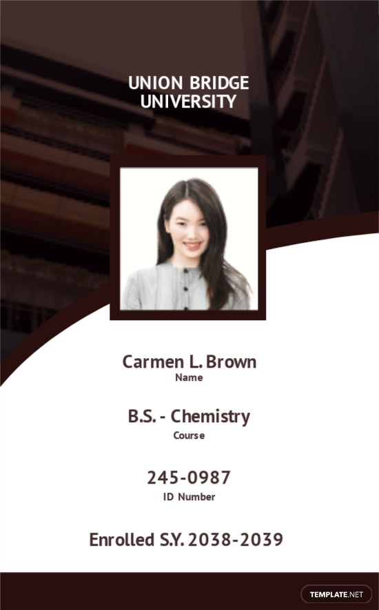 Student ID Card Format Template