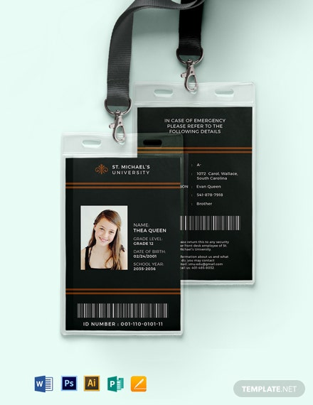 Student University ID Card Template
