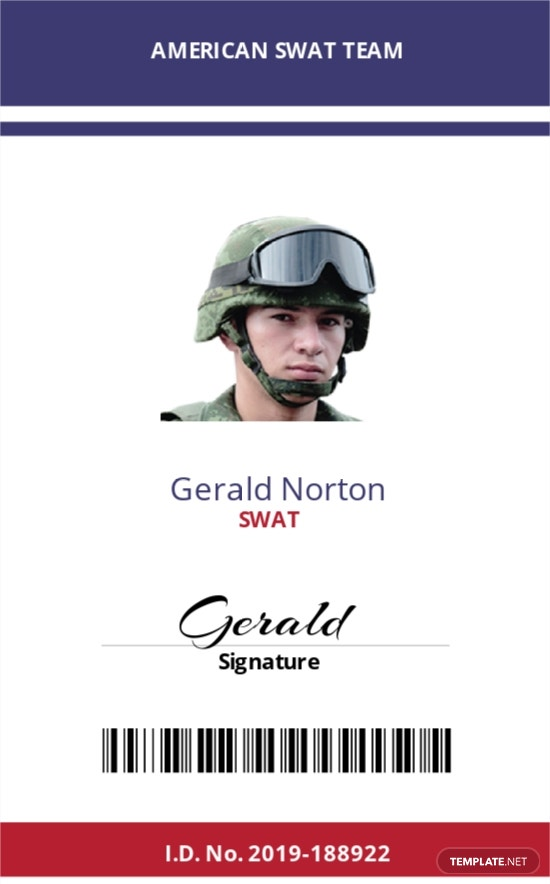 SWAT ID Card Template