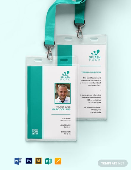 Simple Tourist Guide ID Card Template