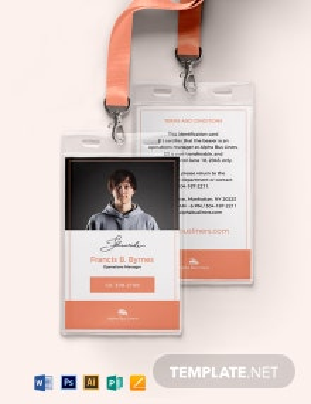 Transportation ID Card Template