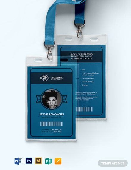 University ID Card Template