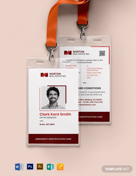 Backpack Emergency ID Card Template