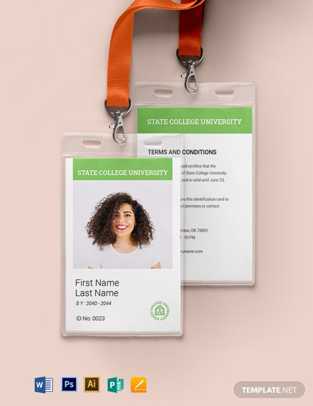Blank College ID Card Template