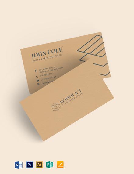 Kraft Paper Business Card Template