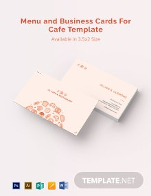 Menu and Business Cards for Cafe Template