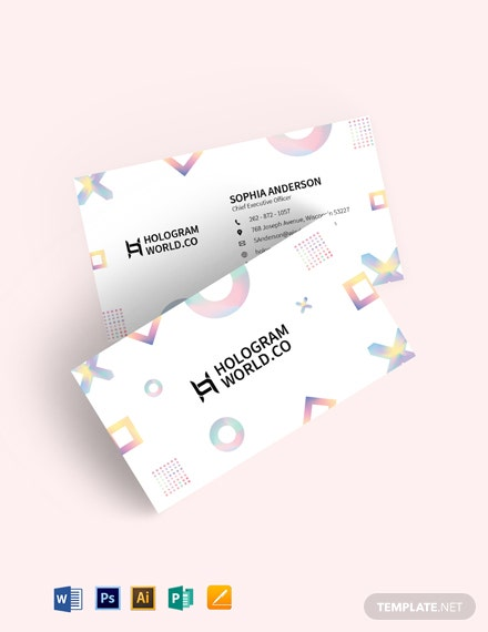 Minimal Holographic Business Card Template