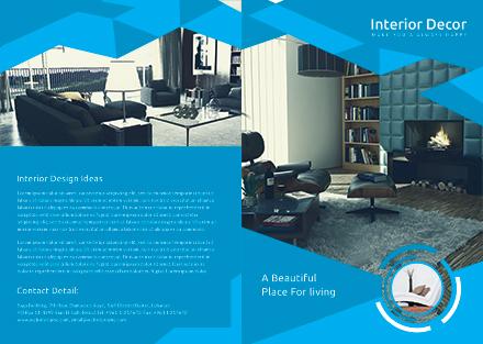 Free Creative Interior Decor Bi-Fold Brochure Template