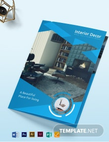 Free Creative Interior Decor Bi-Fold Brochure Template