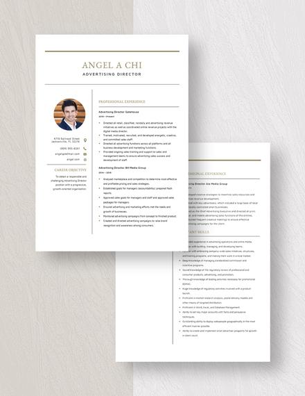 Advertising Director Resume Download