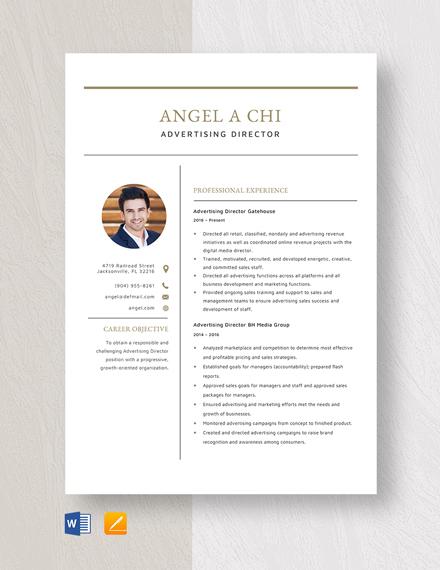 Advertising Director Resume Template