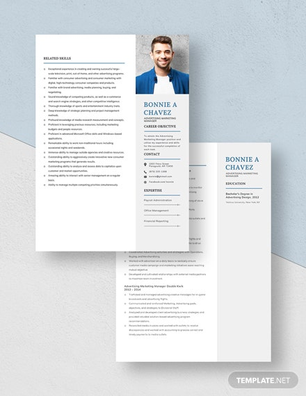 Advertising Marketing Manager Resume Download