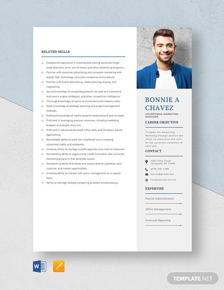 Advertising Marketing Manager Resume Template