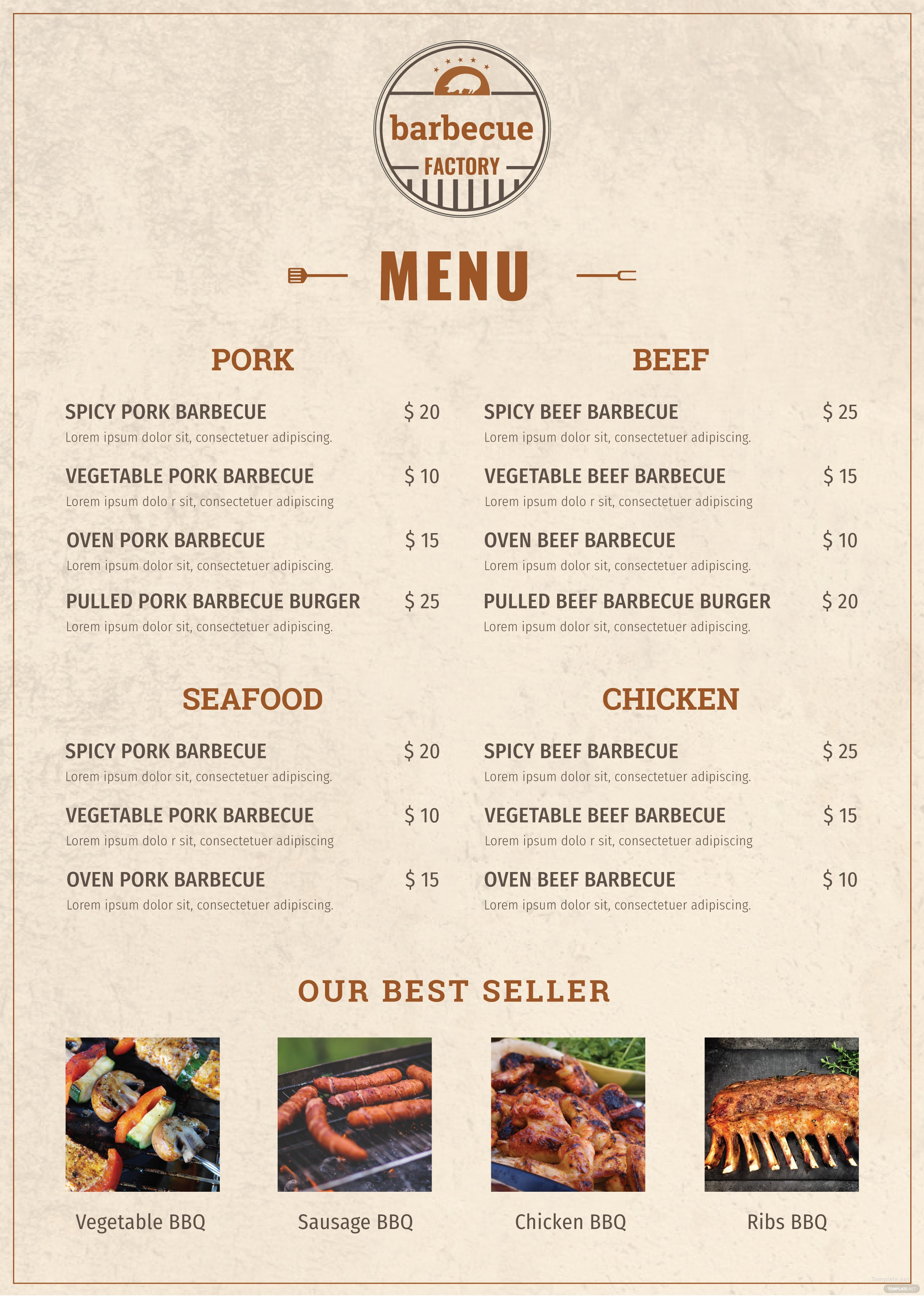 free minimal barbecue menu template in adobe photoshop  illustrator  microsoft word  publisher