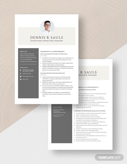 Advertising Operations Manager Resume Download