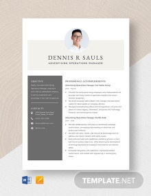 Advertising Operations Manager Resume Template