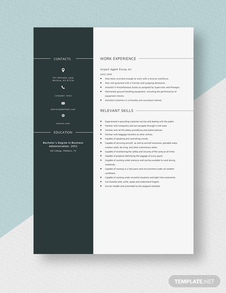 Airport Agent Resume Template