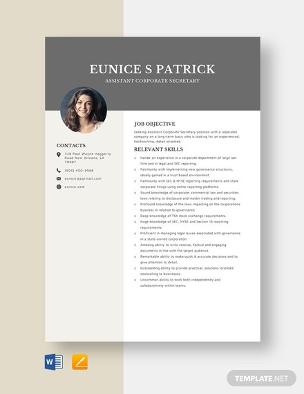 Assistant Corporate Secretary Resume Template