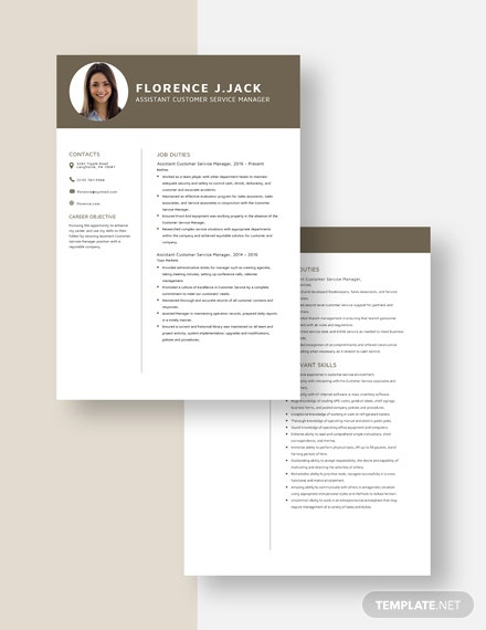 Assistant Customer Service Manager Resume Download