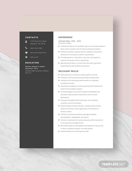 Assistant Dean Resume Template