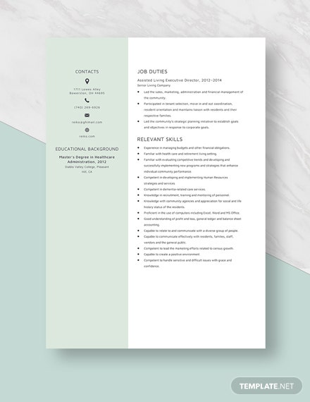 Assisted Living Executive Director Resume Template