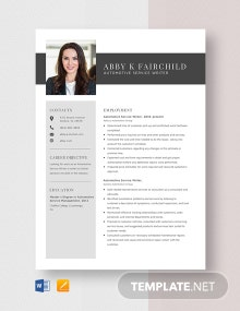 Automotive Service Writer Resume Template
