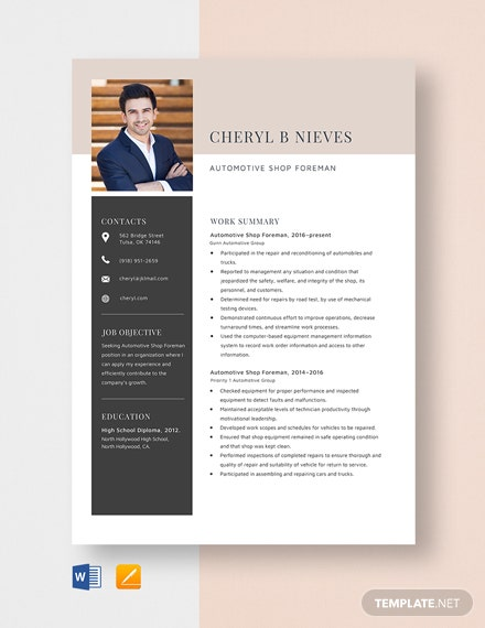 Automotive Shop Foreman Resume Template